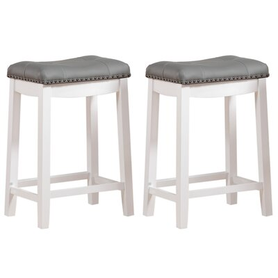 Cambridge 24 Bar Stool Upholstery: Faux Leather- Gray