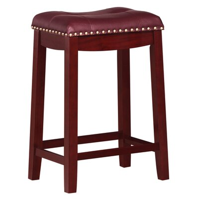 Cambridge 24 Bar Stool Finish: Cherry, Upholstery: Dark Red