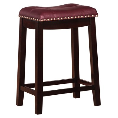 Cambridge 24 Bar Stool Finish: Espresso, Upholstery: Dark Red