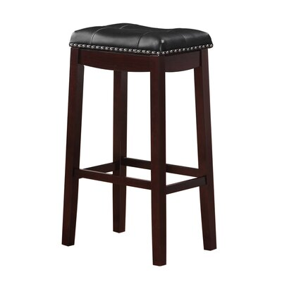 Cambridge 29 Bar Stool Finish: Espresso, Upholstery: Black