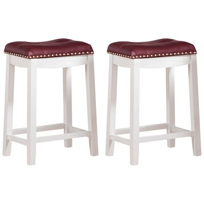 Cambridge 24 Bar Stool with Cushion Finish-Upholstery: White-Dark Red