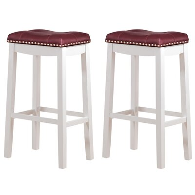 Cambridge 29 Bar Stool Upholstery: Faux Leather-Dark Red