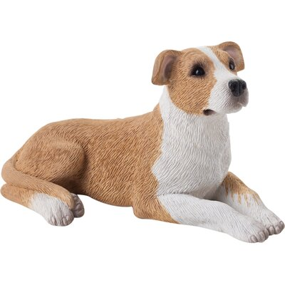 Small Size Sandicast Pit Bull Terrier Sculpture in Fawn/White