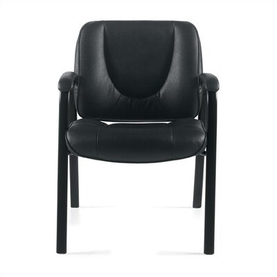 Leather Guest Chair Leather Color: Black