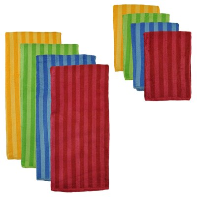 8 Piece Tripe Microfiber Towel and Cloth Set Color: Primary