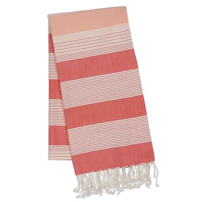 Stripe 2 Piece Towel Set Color: Coral
