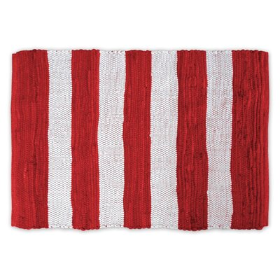 Harford Stripe Rag Hand-Knotted Red Area Rug