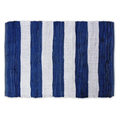 Harpersfield Stripe Rag Hand-Knotted Blue Area Rug