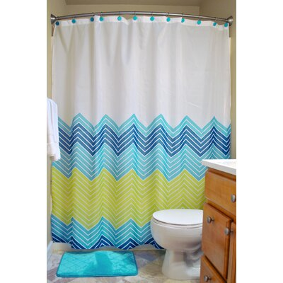 Loren 14 Piece Shower Curtain Set Color: Blue Chevron