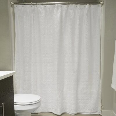 Camile Lace Shower Curtain Color: White