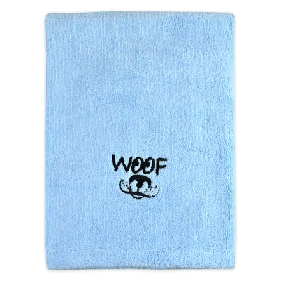 Woof Embroidered Pet Bath Towel Color: Blue