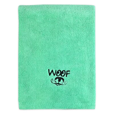 Woof Embroidered Pet Bath Towel Color: Green