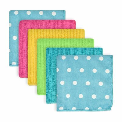 Dots Microfiber 6 Piece Dishcloth Set Color: Blueberry