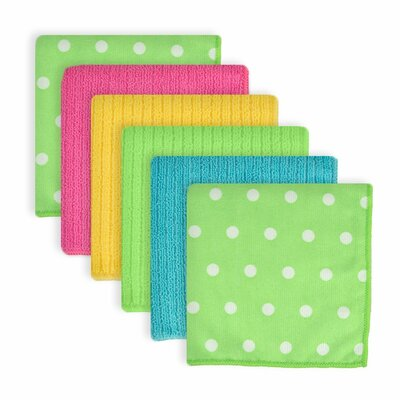 Dots Microfiber 6 Piece Dishcloth Set Color: Green