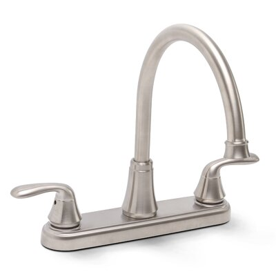 Waterfront Double Handle Kitchen Faucet Finish: Brushed Nickel, Side Spray: Not included