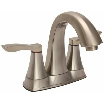 Waterfront Double Handle Centerset Lavatory Faucet with Less Popup Finish: Brushed Nickel