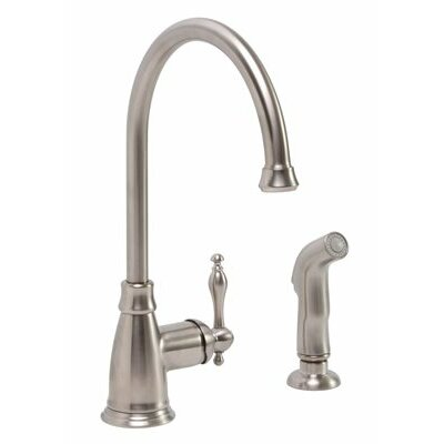 Wellington Single Handle Kitchen Faucet with Sprayer Finish: Brushed Nickel