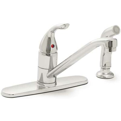 Caliber Single Handle Kitchen Faucet with Spray Finish: Chrome