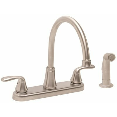 Waterfront Double Handle Deck Mounted Bar Faucet with Spray Hose Finish: Brushed Nickel