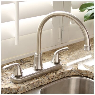 Waterfront� Double Handle Kitchen Faucet Finish: Brushed Nickel