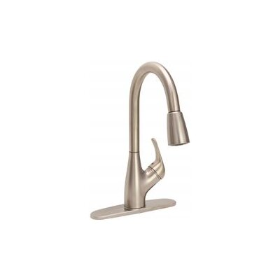Single Handle Pull Down Standard Kitchen Faucet Finish: Brushed Nickel