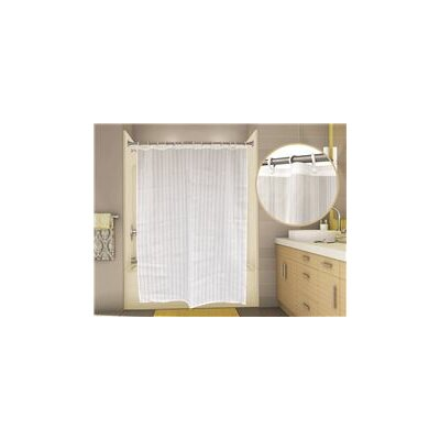 Classic Stripe Shower Curtain Color: White