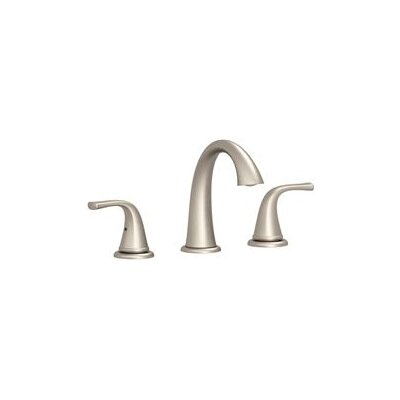 Double Handle Deck Mounted Widespread Lever Bathroom Faucet with Drain Assembly Finish: Brushed Nickel