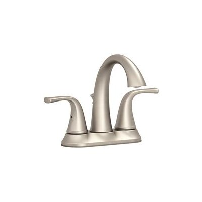 Double Handle Deck Mounted Centerset Lever Bathroom Faucet with Drain Assembly Finish: Brushed Nickel