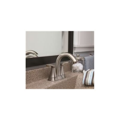 Double Handle Deck Mounted Centerset Lever Bathroom Faucet Finish: Brushed Nickel