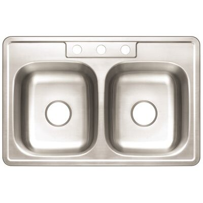 Double Bowl 33 x 22 Drop-In Kitchen Sink