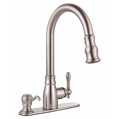 Sonoma� Single Handle Pull Down Kitchen Faucet with Soap Dispenser Finish: Brushed Nickel
