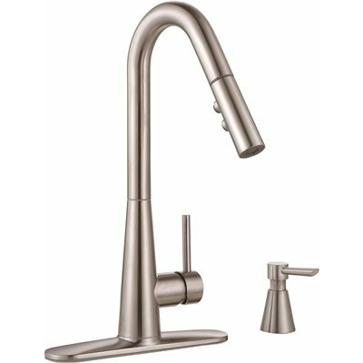 Essen Single-Handle Pull Down Kitchen Faucet with Soap Dispenser Finish: Brushed Nickel