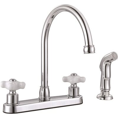 Wellington Double Handle Standard Kitchen Faucet with Side Spray