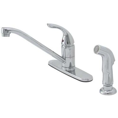 Caliber Single Handle Standard Kitchen Faucet with Spray Finish: Chrome