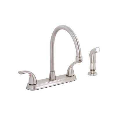 Bayview Two Handle Centerset Kitchen Faucet with Matching Spray Finish: Brushed Nickel (PVD)