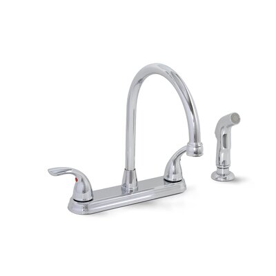 Bayview Two Handle Centerset Kitchen Faucet with Matching Spray Finish: Chrome