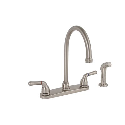 Sanibel Two Handle Centerset High Arch Kitchen Faucet with Matching Spray Finish: Brushed Nickel