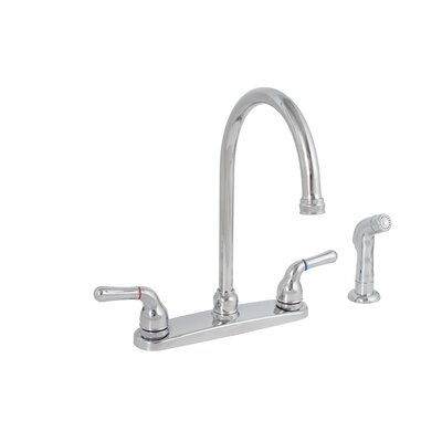 Sanibel Two Handle Centerset High Arch Kitchen Faucet with Matching Spray Finish: Chrome