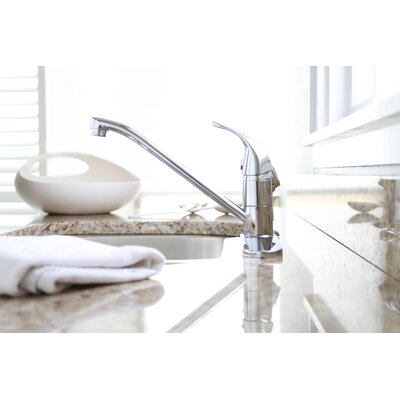 Westlake Single Handle Deck Mounted Kitchen Faucet Finish: Brushed Nickel