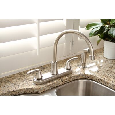 Waterfront Double Handle Kitchen Faucet Finish: Brushed Nickel, Side Spray: Included