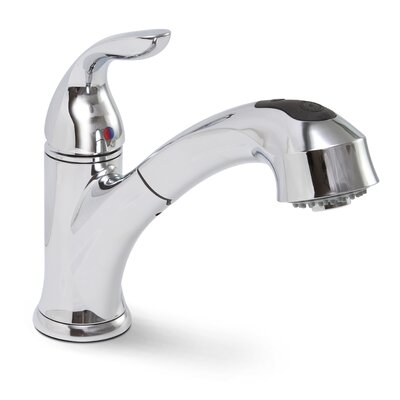 Waterfront Single Handle Single Hole Kitchen Faucet with Pull-Out Spray Finish: Chrome