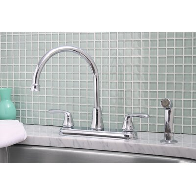 Waterfront 2 Handle Centerset Kitchen Faucet with Optional Side Spray Finish: Chrome, Side Spray: Included