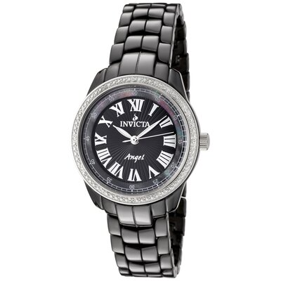 Women's Angel Diamond Black Dial Watch in Black Ceramic