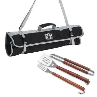 Picnic Time NCAA 3 Piece BBQ Tool Set with Tote - Color: Black NCAA Team: University Of Wisconsin Badgers