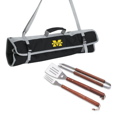 NCAA 3 Piece BBQ Tool Set with Tote NCAA Team: Michigan