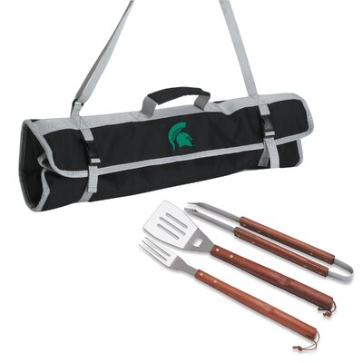 NCAA 3 Piece BBQ Tool Set with Tote NCAA Team: Michigan State