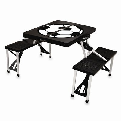 Picnic Table Sport Finish: Black with Soccer