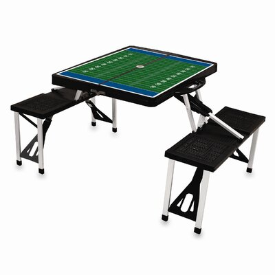 Picnic Table Sport Finish: Black with Football Field
