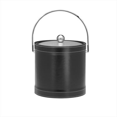 Stitched 3 Qt Ice Bucket with Bale Handle in Black