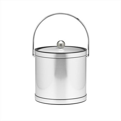 Whobrey 3 Qt Ice Bucket with Metal Cover in Brushed Chrome